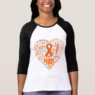 Skin Cancer Awareness Heart Words (Orange) Tshirt