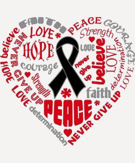 Skin Cancer Awareness Heart Words Shirts