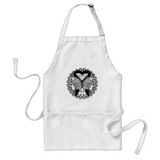 Skin Cancer Butterfly Circle of Ribbons Standard Apron