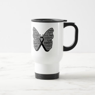 Skin Cancer Butterfly Collage of Words Stainless Steel Travel Mug