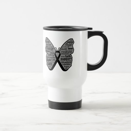 Skin Cancer Butterfly Collage of Words Coffee Mugs