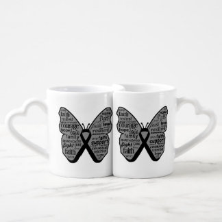 Skin Cancer Butterfly Collage of Words Couple Mugs