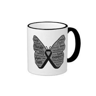 Skin Cancer Butterfly Collage of Words Ringer Mug