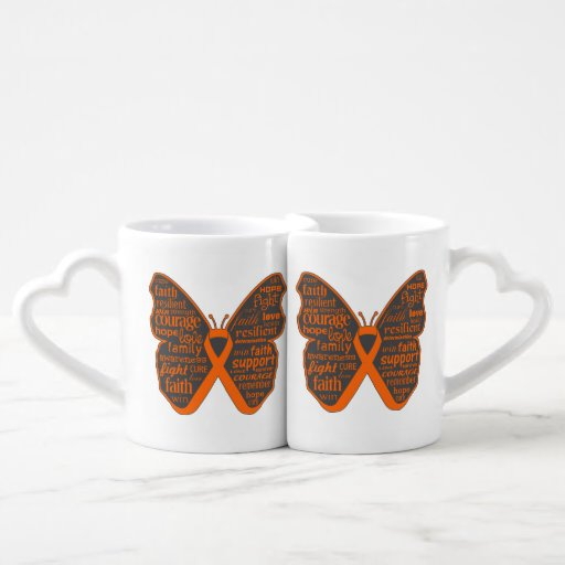 Skin Cancer Butterfly Collage of Words v2 Lovers Mug Set