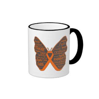 Skin Cancer Butterfly Collage of Words v2 Ringer Mug