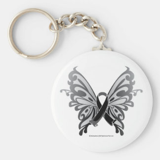 Skin Cancer Butterfly Ribbon Key Ring