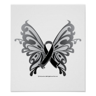 Skin Cancer Butterfly Ribbon Poster
