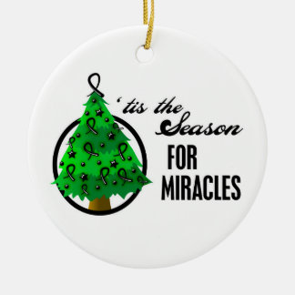 Skin Cancer Christmas Miracles Round Ceramic Decoration
