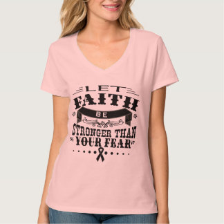 Skin Cancer Faith Stronger than Fear Tee Shirt