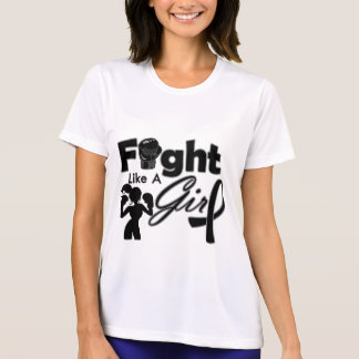 Skin Cancer Fight Like A Girl Silhouette T-shirts