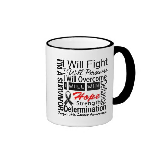 Skin Cancer Fight Persevere Overcome Win Coffee Mugs