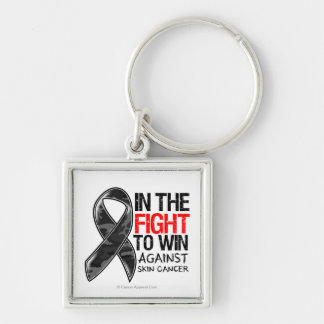 Skin Cancer - Fight To Win Silver-Colored Square Key Ring