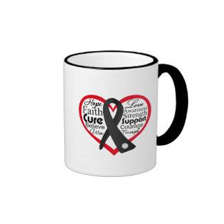 Skin Cancer Heart Ribbon Collage Coffee Mug