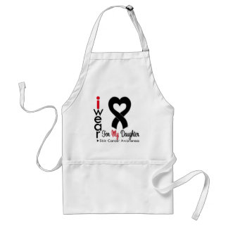 Skin Cancer Heart Ribbon For My Daughter Adult Apron