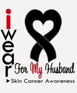Skin Cancer Heart Ribbon For My Husband Shirt