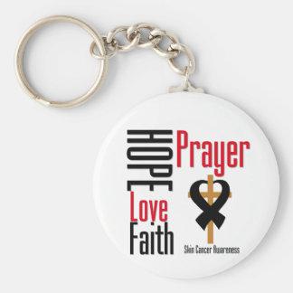 Skin Cancer Hope Love Faith Prayer Cross Basic Round Button Key Ring