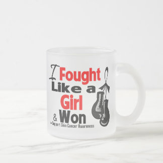 Skin Cancer I Fought Like a Girl and Won Frosted Glass Mug