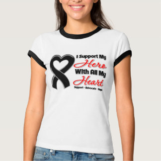 Skin Cancer I Support My Hero With All My Heart Tee Shirt