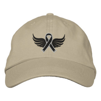 Skin Cancer Ribbon Wings Embroidered Baseball Cap