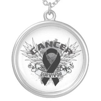 Skin Cancer Survivor Grunge Winged Round Pendant Necklace