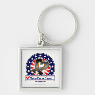 Skin Cancer Vote For a Cure Silver-Colored Square Key Ring