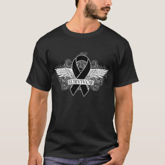 Skin Cancer Winged SURVIVOR Ribbon T-Shirt