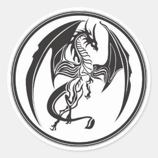 Skinny dragons round sticker