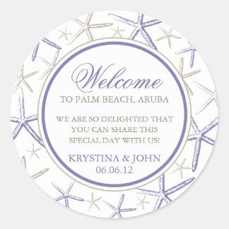 Skinny Finger Starfish Wedding Welcome Sticker