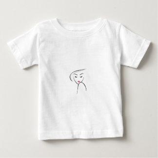 skinny girl in pink lipstick t-shirt