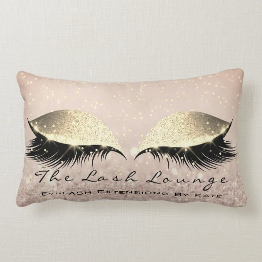 Skinny Gold Glitter Makeup Artist Eye Lash Beauty Lumbar Cushion