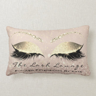 Skinny Gold Glitter Pink Makeup Eyes Lashes Beauty Lumbar Cushion