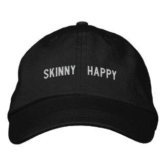 Skinny happy embroidered baseball caps