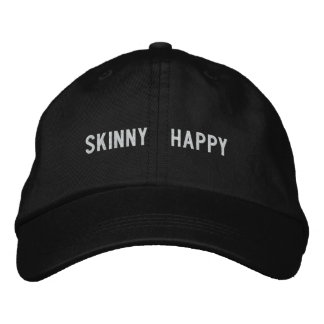 Skinny < happy embroidered baseball caps