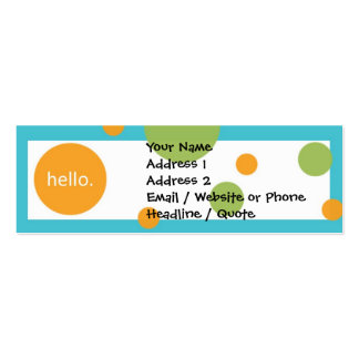 Skinny Mini Modern Dots Profile / Calling Card Pack Of Skinny Business Cards