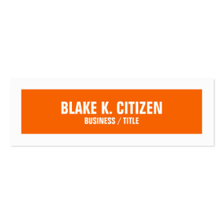 Skinny Orange and White Big Border business card