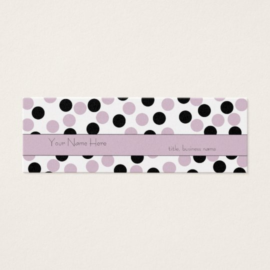 Skinny Pink and Black Polka Dot Business Card