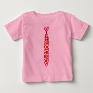 Skinny Pink Floral Necktie Sixties Flowers T-shirt