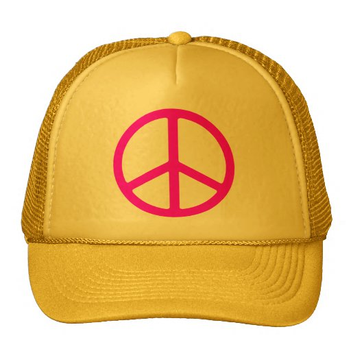 Skinny Pink Peace Sign Mesh Hats