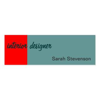 Skinny Red Blue Interior Designer Business Card