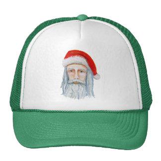 Skinny Santa Face Hand Drawn and Painted Mesh Hat