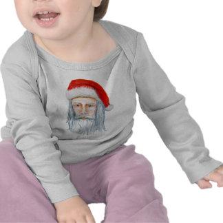 Skinny Santa Face Hand Drawn and Painted Tee Shirts