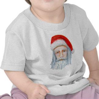 Skinny Santa Face Hand Drawn and Painted Shirt