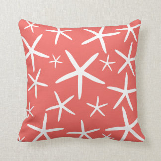 Skinny Starfish | Coral and White Cushion
