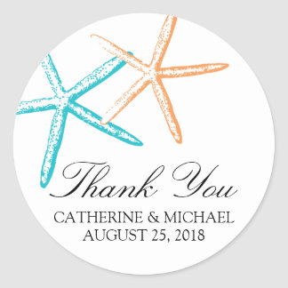 Skinny Starfish Wedding Round Sticker