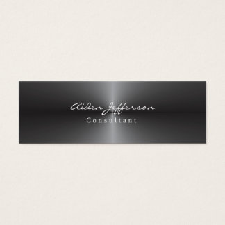 Skinny Stylish Metallic Grey Minimalist Mini Business Card