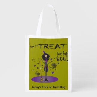 Skinny Whimsical Witch Illustration Trick or Treat