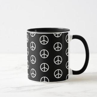 Skinny White Peace Sign Pattern on Black Mug