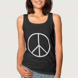 Skinny White Peace Symbol Tank Top