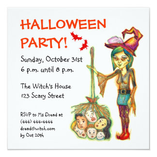 Skinny Witch Halloween Party Invitation Card