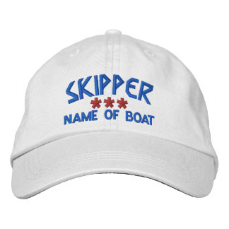 SKIPPER and BOAT NAME Personalized WHITE RED BLUE Embroidered Baseball Cap